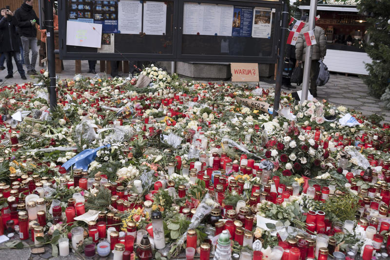 Berlin honored the memory of those killed in the terrorist attack of 19 December on the Christmas market royalty free stock photography