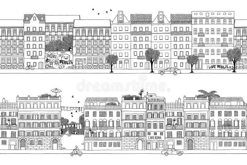 Berlin i Rzym sztandar royalty ilustracja
