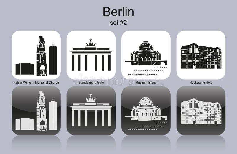 Berlin icons. Landmarks of Berlin. Set of monochrome icons. Editable vector illustration royalty free illustration