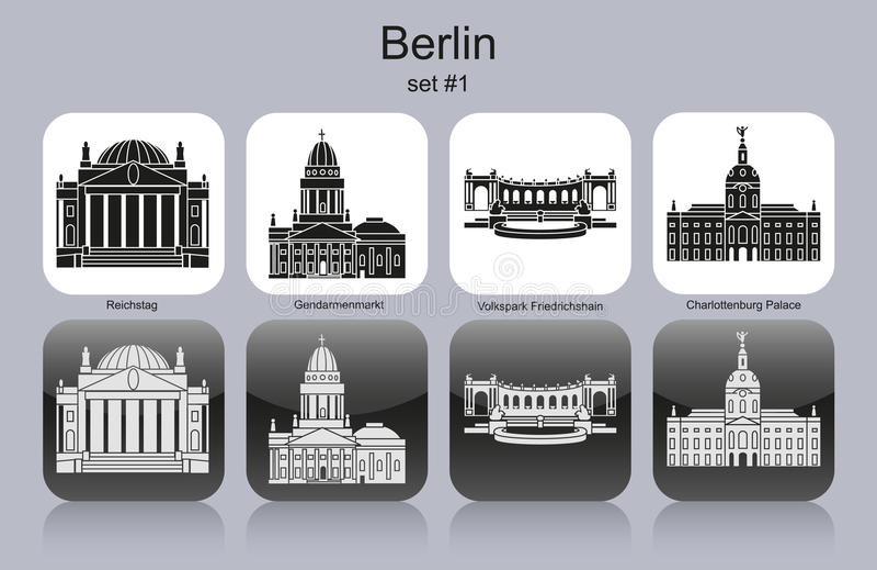 Berlin icons. Landmarks of Berlin. Set of monochrome icons. Editable vector illustration stock illustration