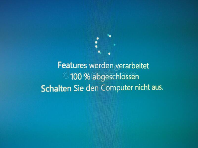 BERLIN - JUN 2020: German Windows 10 update, features are being royalty free stock image