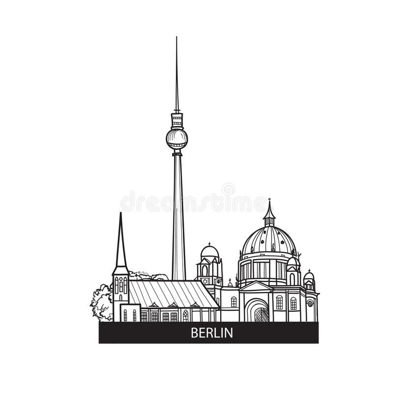 Berlin landmarks label. Travel Germany sign. Famous german city buildings skyline stock illustration