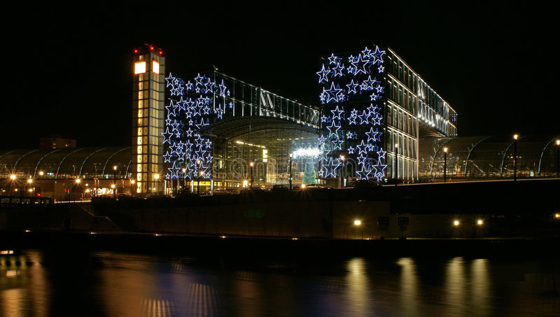 Berlin main station. Berlin's main station (hauptbahnhof) at night with Christmas-themed decorations royalty free stock photos