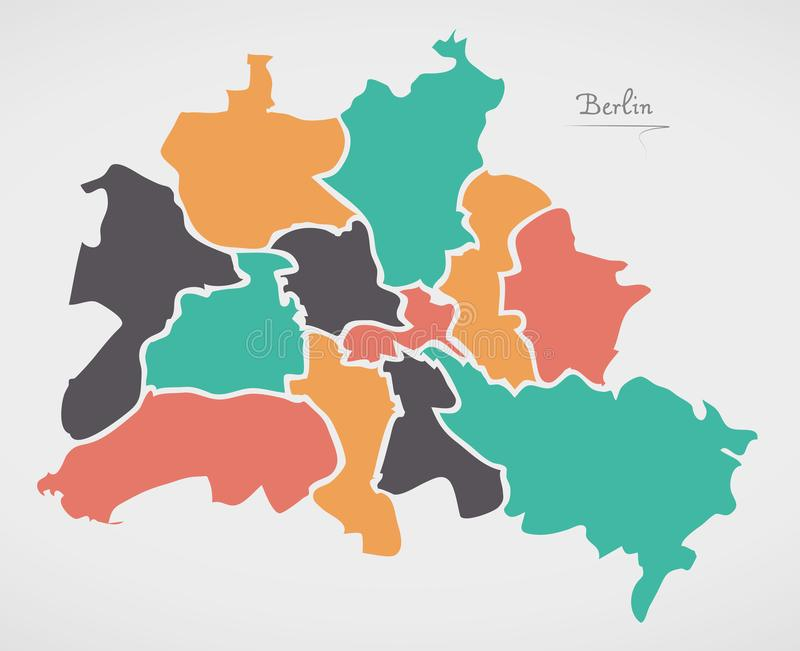 Berlin Map with boroughs and modern round shapes. Illustration stock illustration