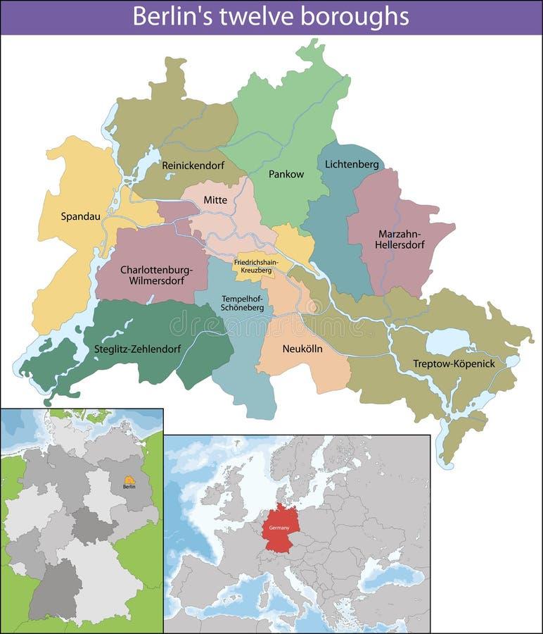 berlin mapa royalty ilustracja