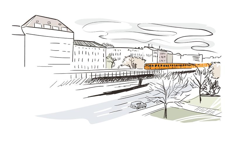Berlin metro vector illustration city landscape watercolor royalty free illustration