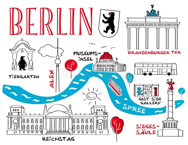 Berlin - miasteczko punkt zwrotny ilustracja wektor