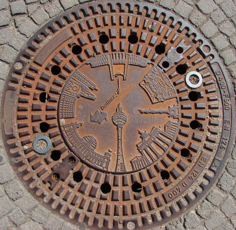 Download Berlin Monuments On Manhole Cover Stock Photos - Image: 13342103