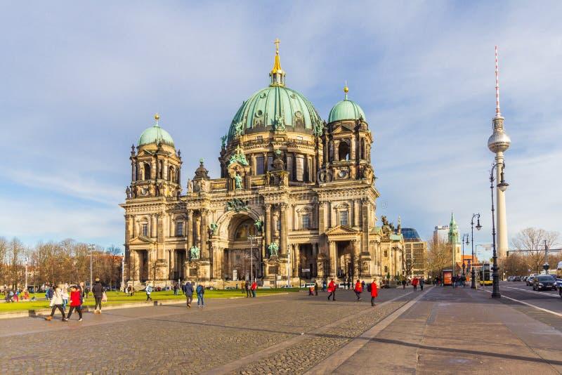 BERLIN NIEMCY, Styczeń, - 6, 2018: Berlińska katedra, berlińczyków Dom Słonecznego dnia widok zdjęcia stock