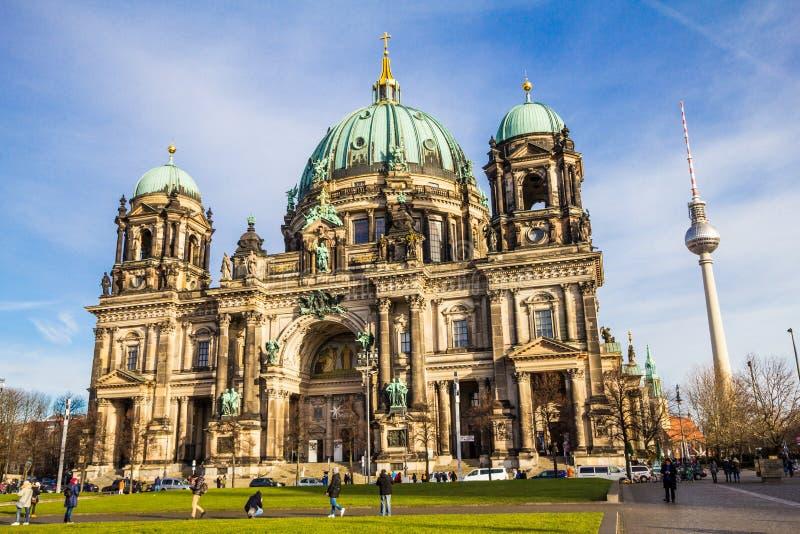BERLIN NIEMCY, Styczeń, - 6, 2018: Berlińska katedra, berlińczyków Dom Słonecznego dnia widok obraz stock