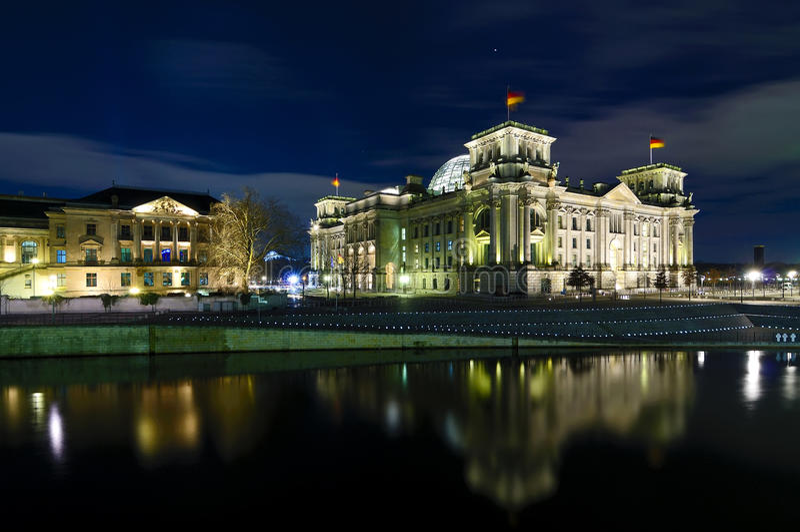 Berlin at night stock image