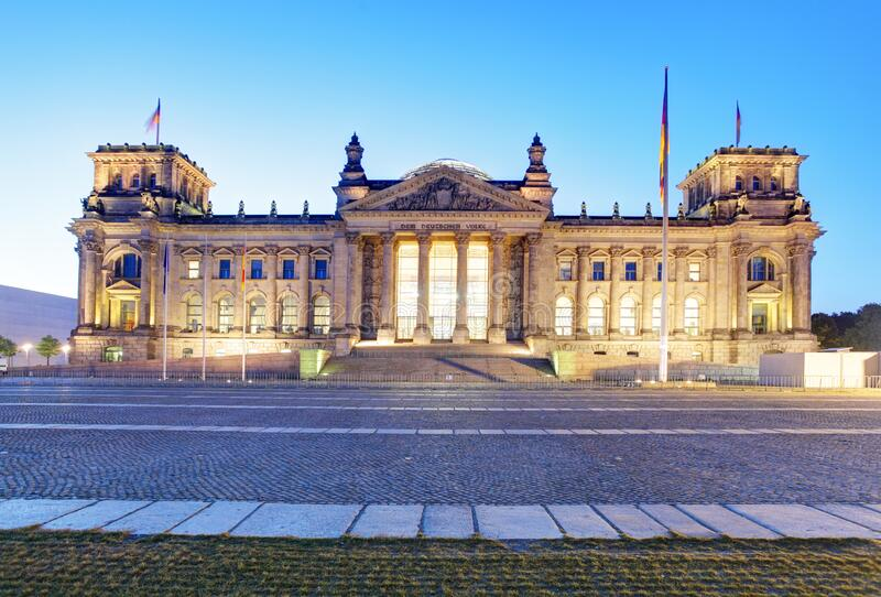 Berlin at night, Reichstag building, Germany royalty free stock photo