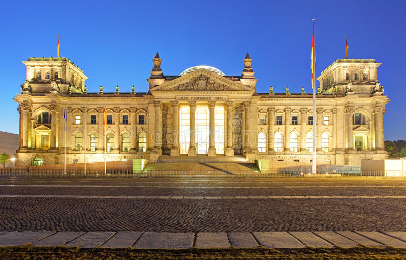 Berlin at night, Reichstag building, Germany royalty free stock photos