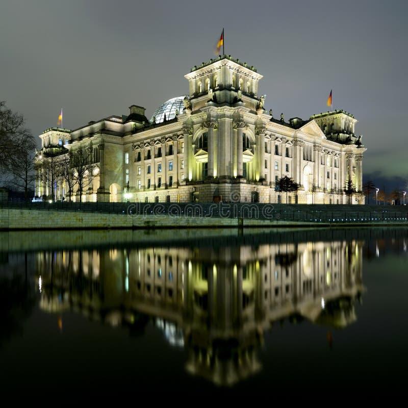 berlin noc reichstag fotografia stock