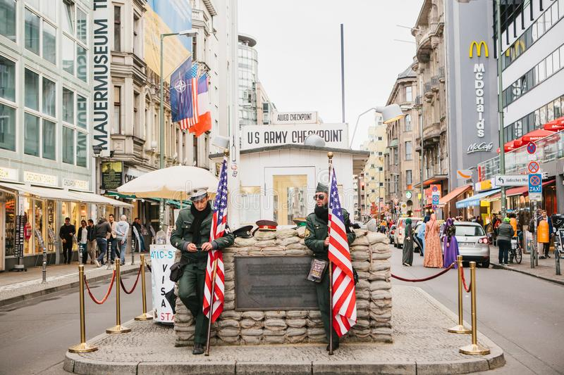 Berlin, October 1, 2017: Checkpoint Charlie - frontier checkpoint on Friedrichstrasse in Berlin royalty free stock photography