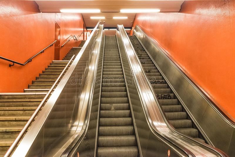 BERLIN - OCTOBER 20, 2016: Exit out of a metro station in Berlin royalty free stock images