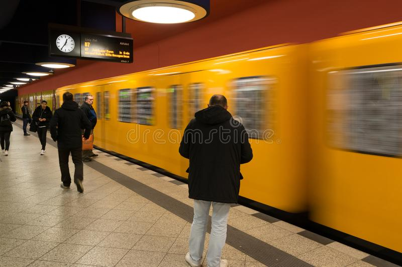 BERLIN - OCTOBER 20, 2016: People in the Berlin Metro (U-Bahn). On Octomber 20, 2016 royalty free stock photo