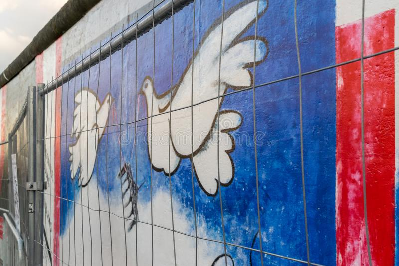 BERLIN - OCTOBER 19, 2016: Restricting access to the East Side Gallery royalty free stock images
