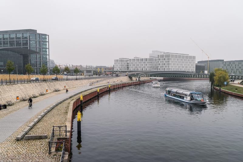 BERLIN - OCTOBER 18, 2016: River Spree with a view to the Berlin Hauptbahnhof area royalty free stock photo