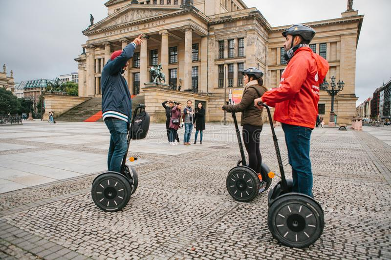Berlin, October 1, 2017: Tourists on the square next to the Berlin Concert House royalty free stock images