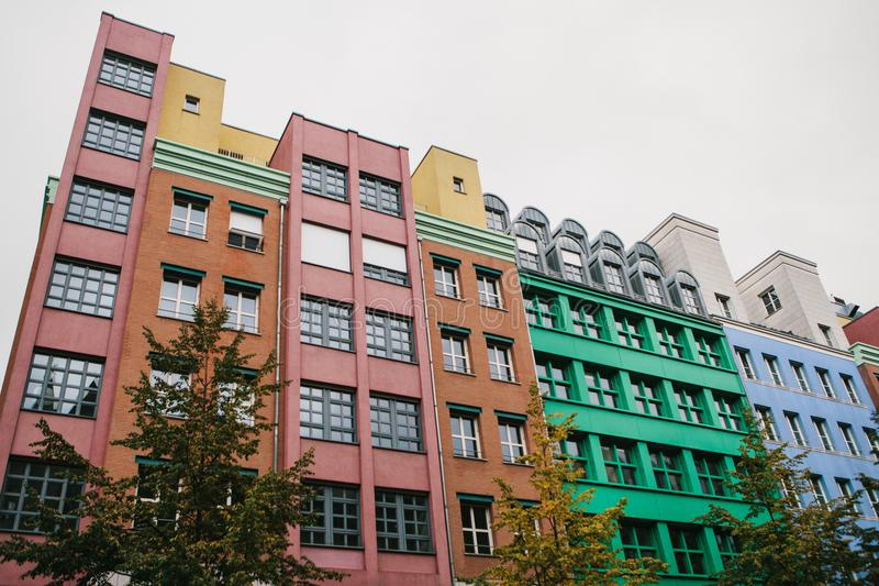 Berlin, October 1, 2017: Unusual colored modern residential building stock photo
