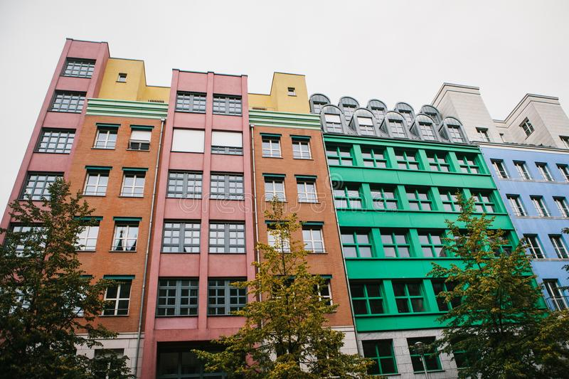 Berlin, October 1, 2017: Unusual colored modern residential building stock image