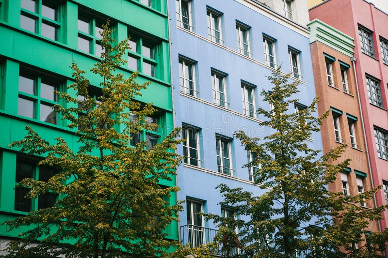 Berlin, October 1, 2017: Unusual colored modern residential building royalty free stock photography