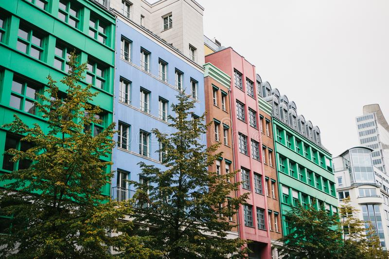 Berlin, October 1, 2017: Unusual colored modern residential building royalty free stock photos