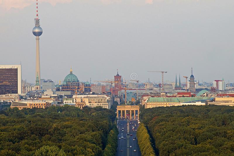 Berlin Panorama with Tiergarten park. Panorama of the German capital Berlin with the Tiergarten park and skyline stock image