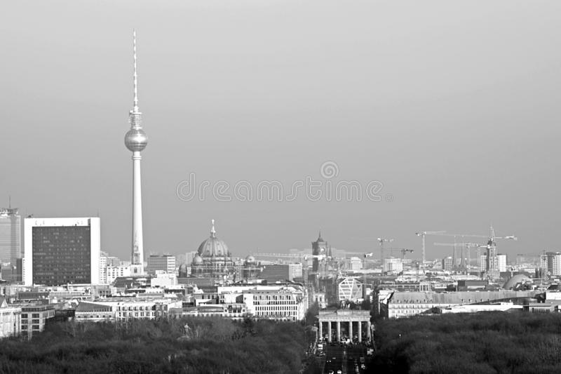 Berlin Panorama with Tiergarten park. Panorama of the German capital Berlin with the Tiergarten park and skyline royalty free stock images