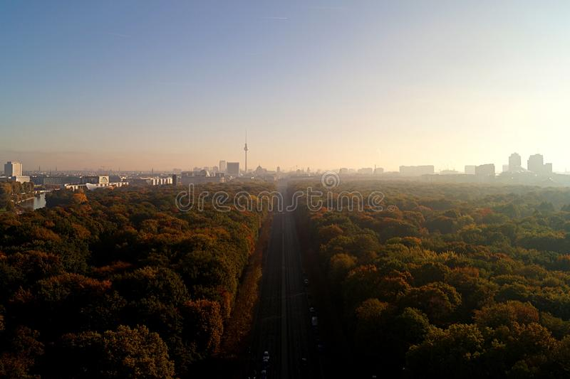 Berlin Panorama with Tiergarten park. Panorama of the German capital Berlin with the Tiergarten park and skyline stock photo
