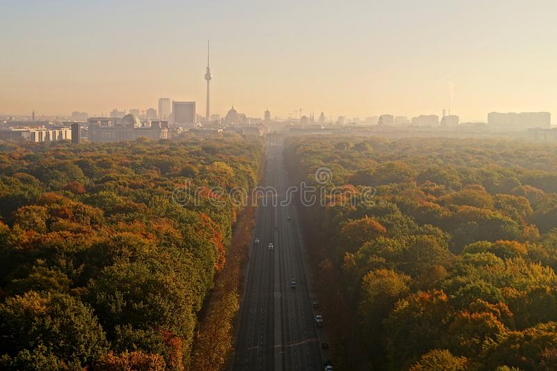 Berlin Panorama with Tiergarten park. Panorama of the German capital Berlin with the Tiergarten park and skyline stock images