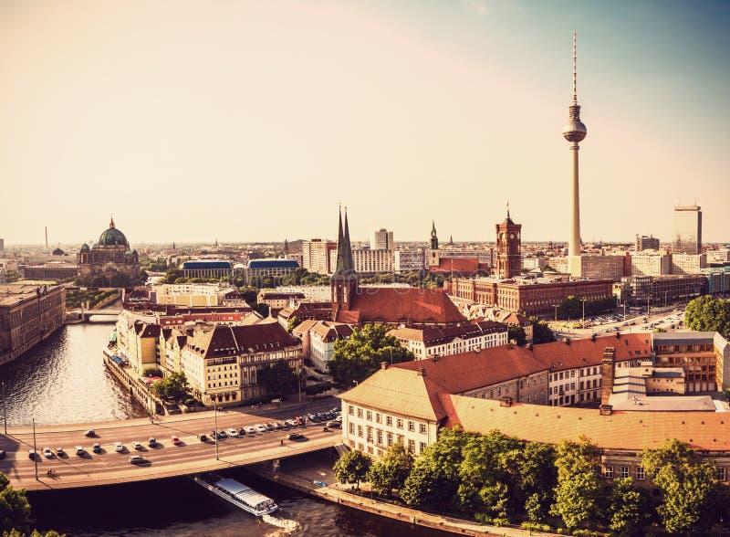 Berlin panorama view. Vintage look royalty free stock images