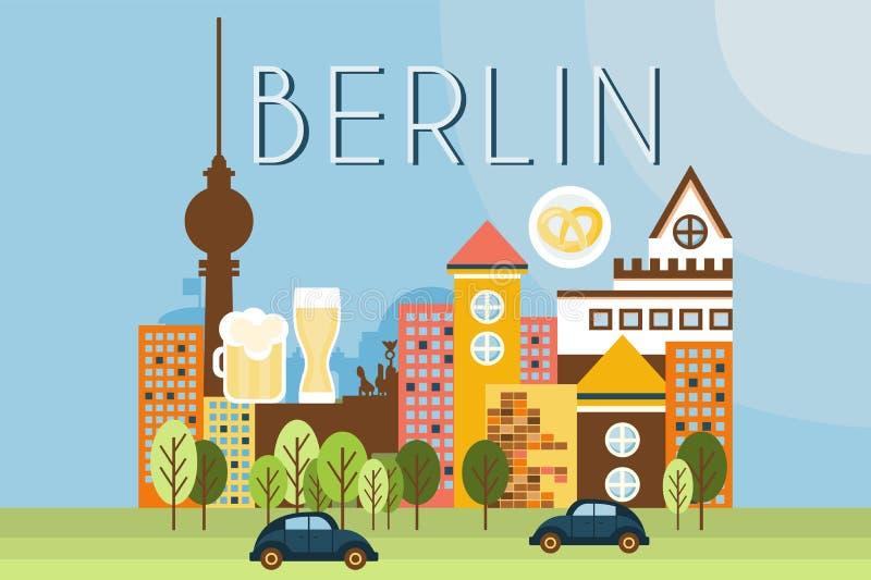 Berlin, points de repère de voyage, illustration de vecteur d'architecture de ville dans le style plat illustration de vecteur