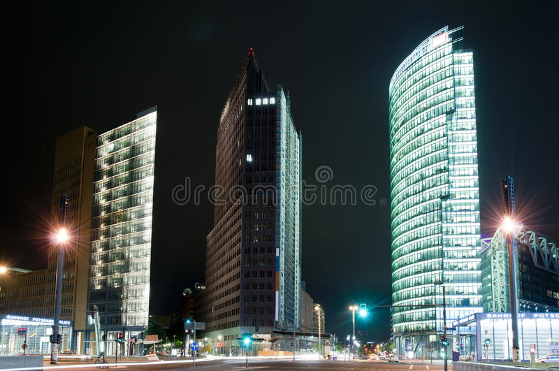 Berlin potsdamer platz. Potsdamer platz in berlin, germany, at night royalty free stock photography