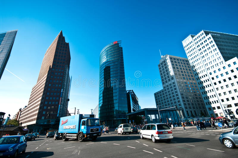 Berlin, Potsdamer Platz. Potsdamer Platz in Berlin, DB Tower (Deutsche Bahn), Sony Center stock image