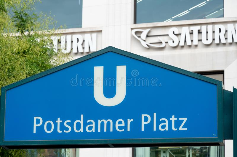 Berlin Potsdamer Platz U-Bahn station. Berlin, Germany - August 25, 2018: Potsdamer Platz U-Bahn station sign. The U-Bahn, or Untergrundbahn, is the underground royalty free stock photography