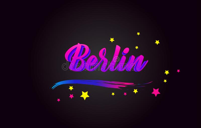 Berlin Purple Handwritten-het van letters voorzien typografie Word voor logotype, kenteken, pictogram, kaart, prentbriefkaar, emb vector illustratie