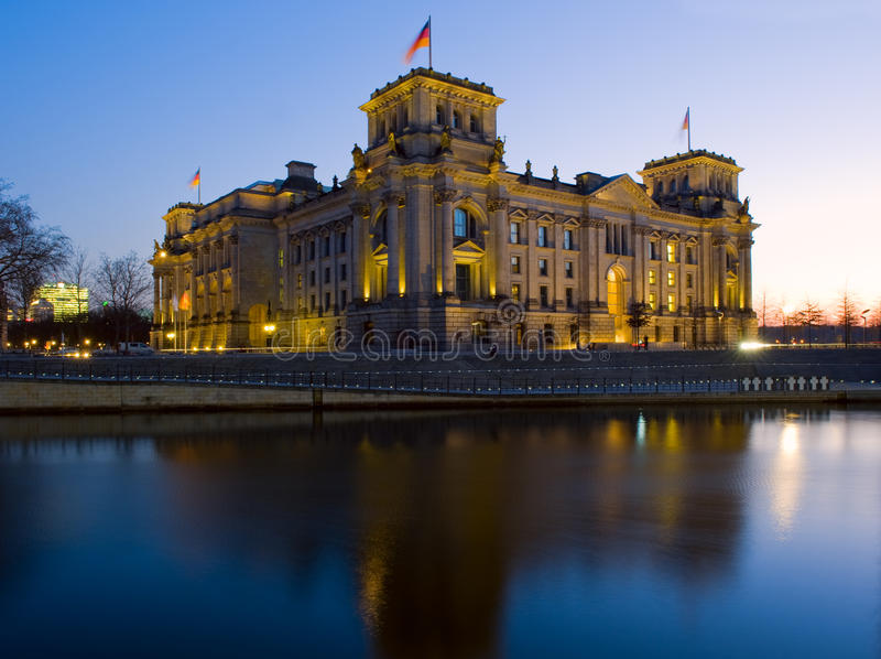 Berlin Reichstag. The Reichstag is the seat of the German Bundestag and is one of the Berlin's biggest attraction. Its colorful past reflects the turbulence of royalty free stock images