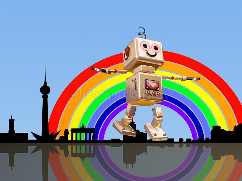 Download Berlin Robot Flying Into The Rainbow Royalty Free Stock Photo - Image: 10586555