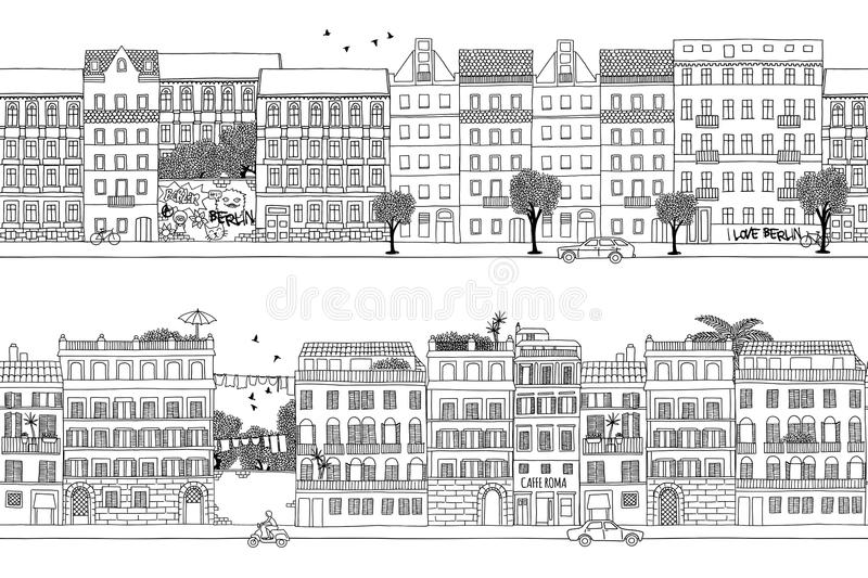 Berlin and Rome banner. Two hand drawn seamless city banners - Berlin and Rome style houses royalty free illustration