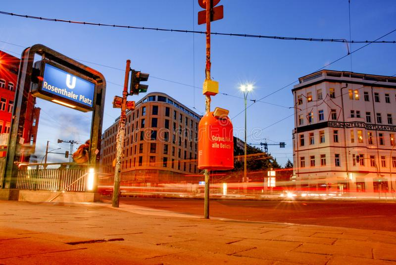Berlin Rosenthal Square at night. Party and Travel Hotspot - Evening long exposure short with subway entry stock photo
