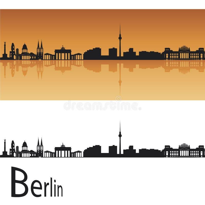 Berlin skyline. In orange background in editable vector file royalty free illustration