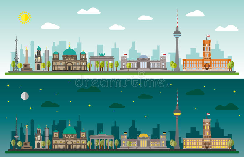 Berlin skyline. By day and night royalty free illustration