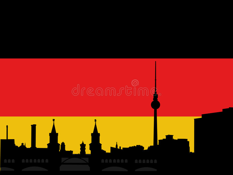 Download Berlin skyline with flag stock vector. Image of illustration - 5510159