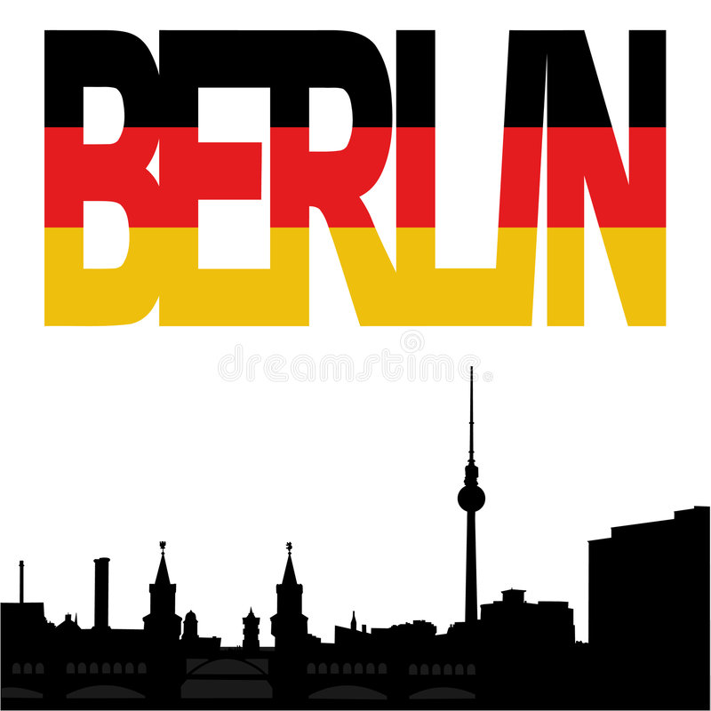 Berlin skyline with flag text stock illustration