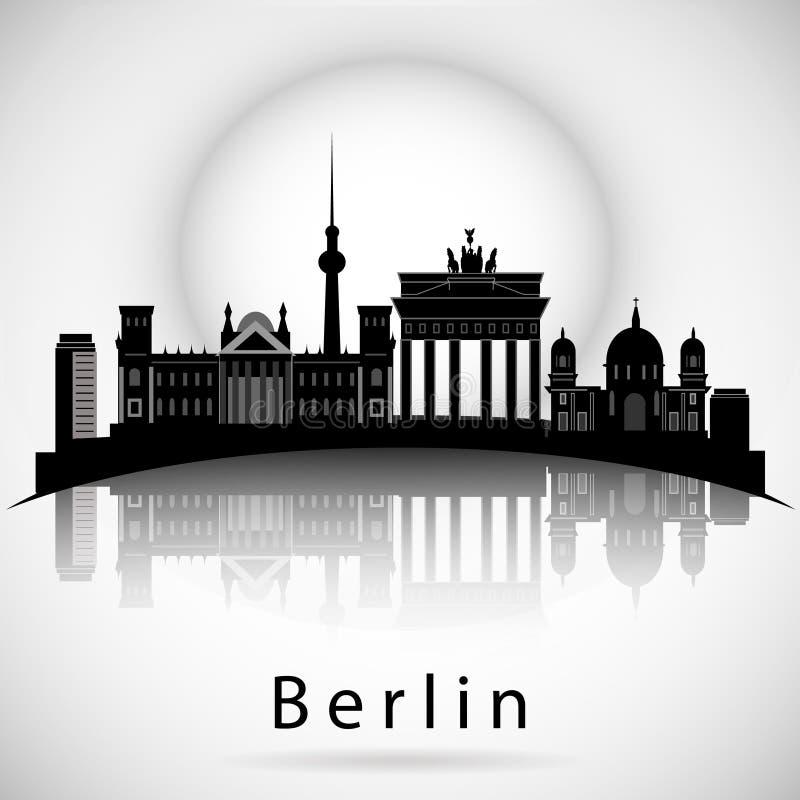 Berlin Skyline Nachtroter Himmel mit Sternen lizenzfreie abbildung