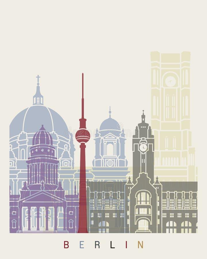 Berlin skyline poster. In editable vector file royalty free illustration