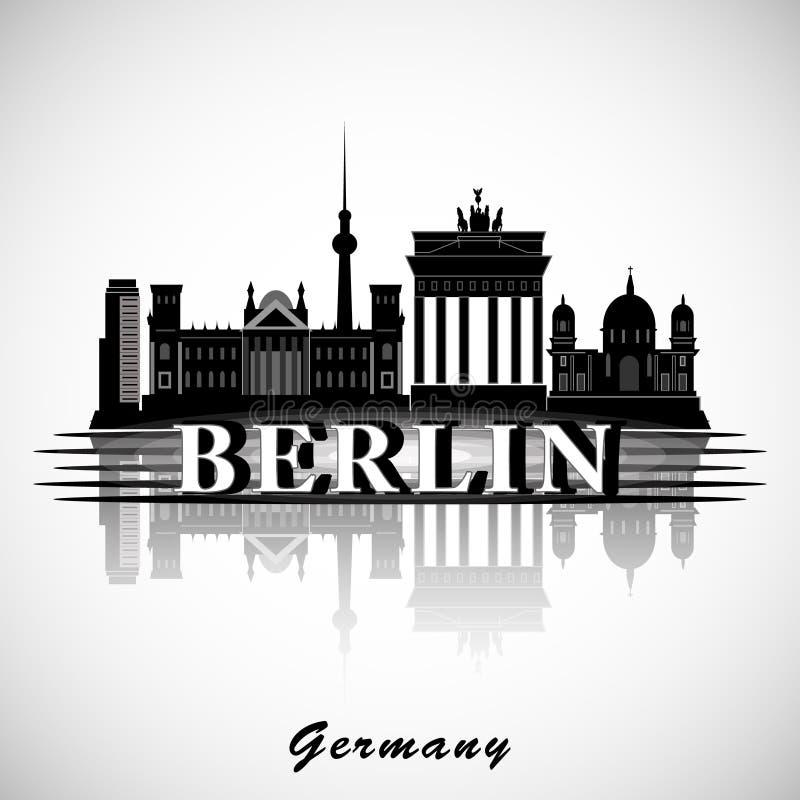 Berlin Skyline Silhueta da cidade do vetor ilustração royalty free
