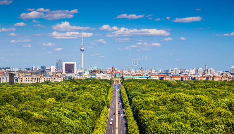 Berlin skyline with Tiergarten park in summer, Germany. Aerial view of Berlin skyline panorama with Grosser Tiergarten public park on a sunny day with blue sky stock photo